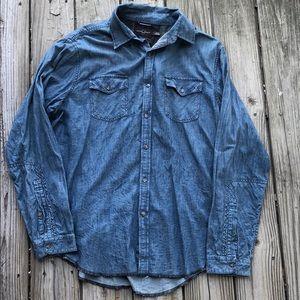 Black Brown 1826 Denim Button Down Shirt Size XL